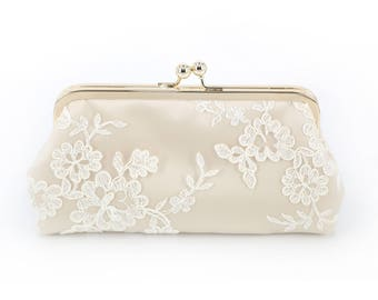 Alencon Lace Bridesmaids Clutch in Ivory and Champagne | Bridesmaids Gift | Wedding Gift