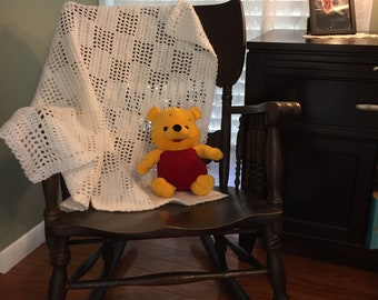 White Baby Afghan, White Crochet Baby Afghan, Crochet Baby Blanket