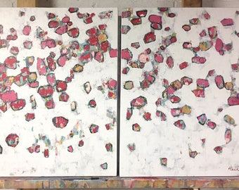"Original Painting - Poppies - 30"" x 48"" Diptych (two 30"" x 24"" Canvases)"