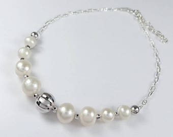 925 Sterling Silver Freshwater Pearls Bracelet