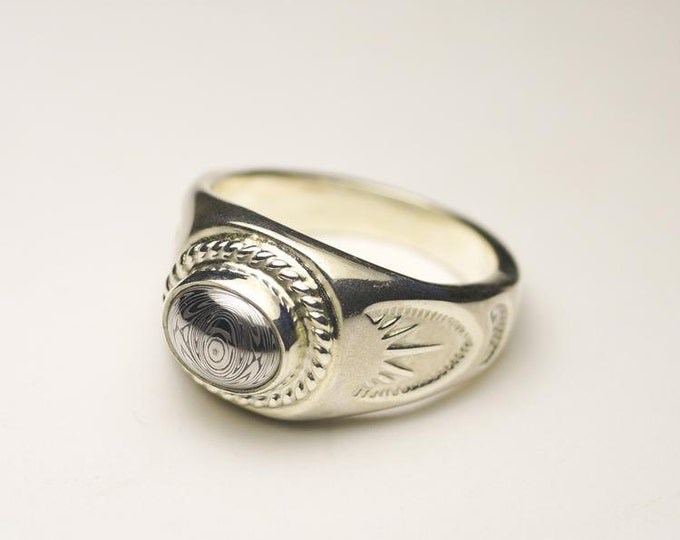Gemstone Signet Ring | Tribal Silver Ring | Birthstone Ring | Oval Gemstone Ring | Engraved Silver Ring | Simple Silver Ring | Rings for Men
