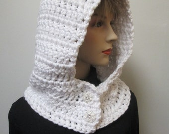 White Hooded Cowl, Honeymoon Scarf, Bridal Photo Shoot, Knit Scoodie Scarves, Crochet Hat, Womans Hooded Scarf,  Crochet Hat,Caroline B5-084