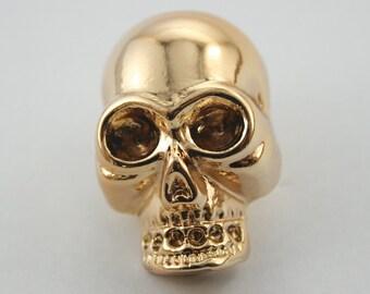 2 pcs. Zinc Gold Skull Head Stud Rivet Conchos Costume Jewelry Decorations 22x34 mm. SK G2234 111