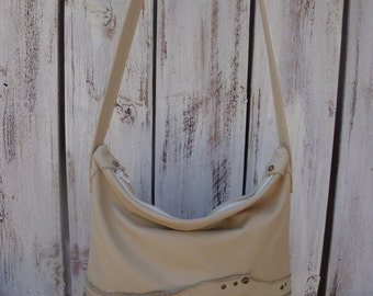 Studs And Rivets Rustic Ivory White Leather Slouchy Tote Shoulder Purse Ready To Ship Zazu Bagz
