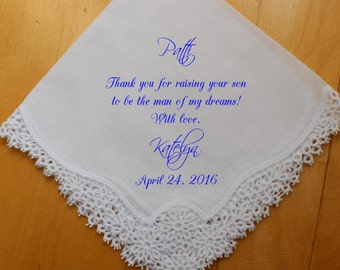 Mother of the Groom Handkerchief, custom PRINTED Wedding Handkerchief, Thank you for raising the Man of My Dreams, Personalized. FCAC[66]