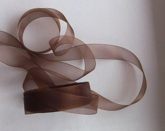10 meters of 25mm dark brown organza Ribbon