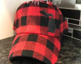Michigan Buffalo Plaid Flannel Baseball Hat   Michigan Hat   Buffalo Plaid Hat   Buffalo Plaid   Flannel Hat