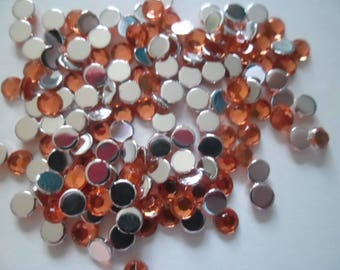 100 half rhinestone orange for embellishment 4 mm