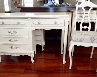 CUSTOM PAINTED Vintage Desk/ Vanity, Shabby Chic Cottage French Provincial