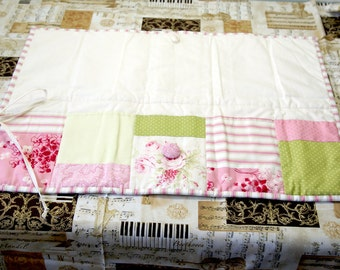 Quilted Scissor Roll  ~  Notions Bag ~ Craft Caddy ~ Craft Bag ~ Fabric Pouch ~ Storage Bag ~ Organizer Bag ~ Flora & Shabby-inspired