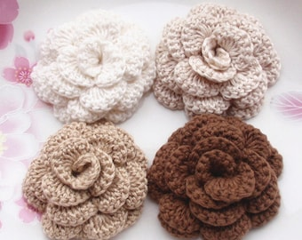4 Crochet  Flowers Roses In 2 inches YH -142-12