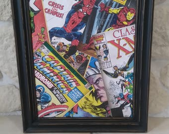 weathered old comics avengers vintage table