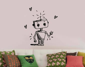 Cute Robot Wall Decal Cartoon Android Vinyl Sticker Machine Robotic Sketch Art Decorations for Home Kids Boys Room Droid Modern Decor rt1