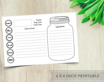 Mason Jar Recipe Cards - Printable Recipe Card - 4x6 Recipe Card - Rustic Recipe Card - Modern Recipe Card - Bridal Shower Instant Download