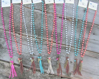 Long Beaded Fringe Necklace with Antique Brass Charms