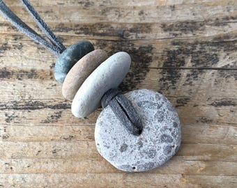 Stone Focal Cairn Necklace | Granite Beach Rock Necklace on Faux Suede Cord | Oil Diffusing Pebbles | Non Metal Jewelry Unique Gift
