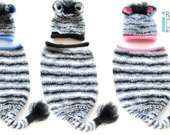 Striped Zebra Hat and Sleeping Bag Set, Newborn Photo Prop READY to Ship