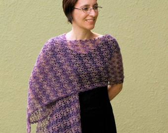 PDF Rippled Lace Rectangular Shawl CROCHET PATTERN