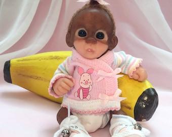 OOAK Sculpted Polymer Clay Orangutan Monkey Baby Doll Miniature