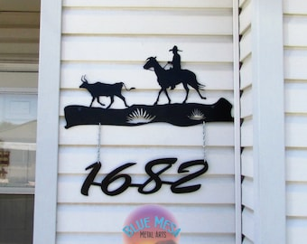 Street Number, Cowboy, Cattle, Cow, Metal Art,Handmade, Handcrafted, Southwestern
