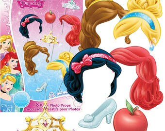 Disney Princess Photo Booth Props [8pc] Birthday Party Game Activity Supplies Centerpiece Sticks Decorations Supply