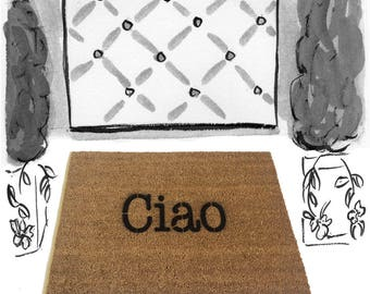Ciao, Italian, doormat, Hello, Goodbye, Welcome mat, unique doormat, cute doormat, sweet doormat, eco friendly