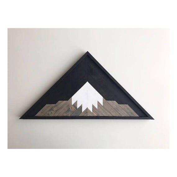 Lath Mountain Art Black, Rustic Wall Art Wood, Reclaimed Lath Mountains, Reclaimed Lath Art, Reclaimed Wall Art, Industrial Wall Art Wood