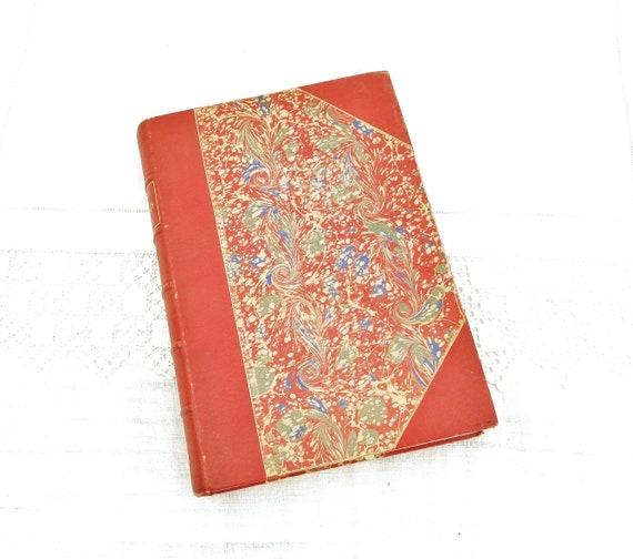 "Rare Antique Book in Red Leather and Marbled Paper By Gabriel Bonvalot ""De Paris au Tonkin a Travers Le Tibet Inconnu"" 1892 Explorer Map"