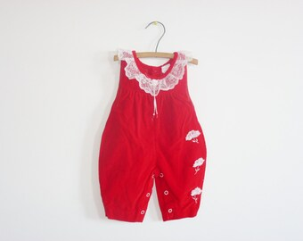 Vintage Red Newborn Romper