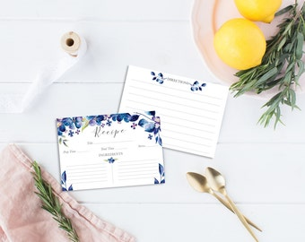 Recipe Cards Set illustrated with blue flowers - 6 or 12 cards - Illustrated Recipe Cards - Recipe Cards - Illustrated recipe - Floral