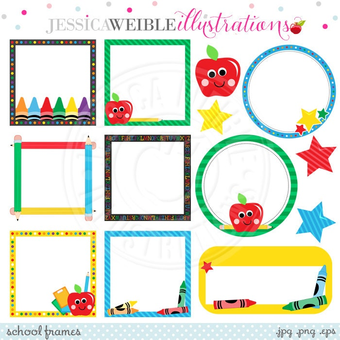 School Frames Cute Digital Clipart for Commercial or Personal