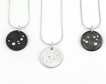 Full Moon Pendant Necklace - Astronomy Gift For Her - Minimalist Necklace - Silver Circle Pendant