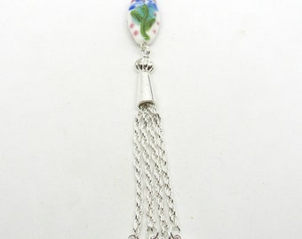 Handmade Lampwork Bead Pendant with Silver Tone Tassle 12cm (B504e)