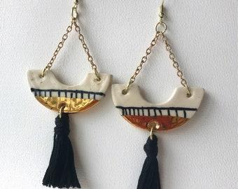 Handmade gold ceramic drop earrings with tassel, tassel earrings, trendy and stylish, modern, black, cream or grey tassel, arc shaped