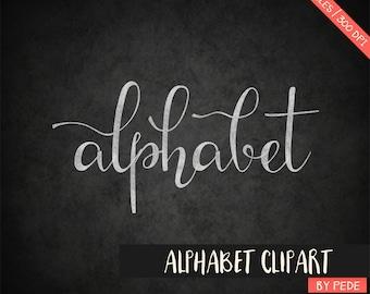 Chalkboard alphabet clipart, digital chalk clipart, digital alphabet, chalk font, alternative letters, instant download