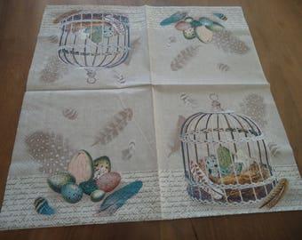 NAPKINS - bird cage - feathers - eggs - set of 4 napkins