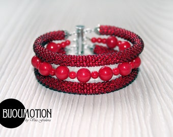Beadwork bracelet Bead Crochet bracelet Beade rope Seed bead bracelet Crocheted bracelet Green bracelet Pyrite bracelet Gemstone bracelet