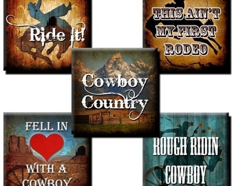 Cowboy Sayings collage sheet - 1 inch squares - Etsy Auto Download