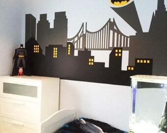 Gotham City Wall Decal   Superhero Wall Decal   Avengers Room Decor   City  Skyline