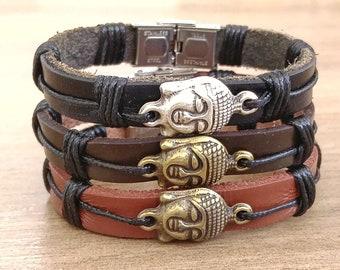 Mens Bracelet BUDDHA Men Leather Bracelet Mens Jewelry Men's Bracelet Husband Gift Boyfriend Gift for Men Bracelet Jewelry Present for Men