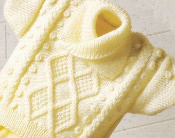 PDF wrap neck sweater cable for children boy girl sweater vintage knitting pattern pdf INSTANT download only