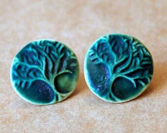 Handmade Ceramic Post Earrings - Tree of Life studs in Deep MossGreen