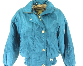 Vintage 90s Descente Ski Jacket size 6 Deadstock Retro Puffy Snowboard Turquoise [H17N_2-1_Puffy]