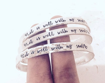 Handstamped Bible Verse Bracelet, It Is Well With My Soul, Christmas Gifts, Birthday Presents, Stocking Stuffers Under 10, Bible Verse Cuff