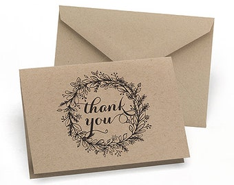 Krafty Rustic Wedding Thank You Notes with Envelopes (Pack of 50)