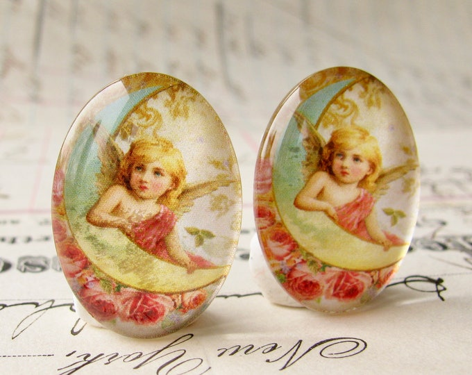 Pair of angels for earrings, handmade glass oval cabochons, 25x18mm 18x25mm, cherub on the moon, pink roses, aqua blue moon, Victorian angel