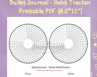 Bullet Journal Wheel Habit Tracker Printable Sticker | Track your monthly habits in a circular tracker!
