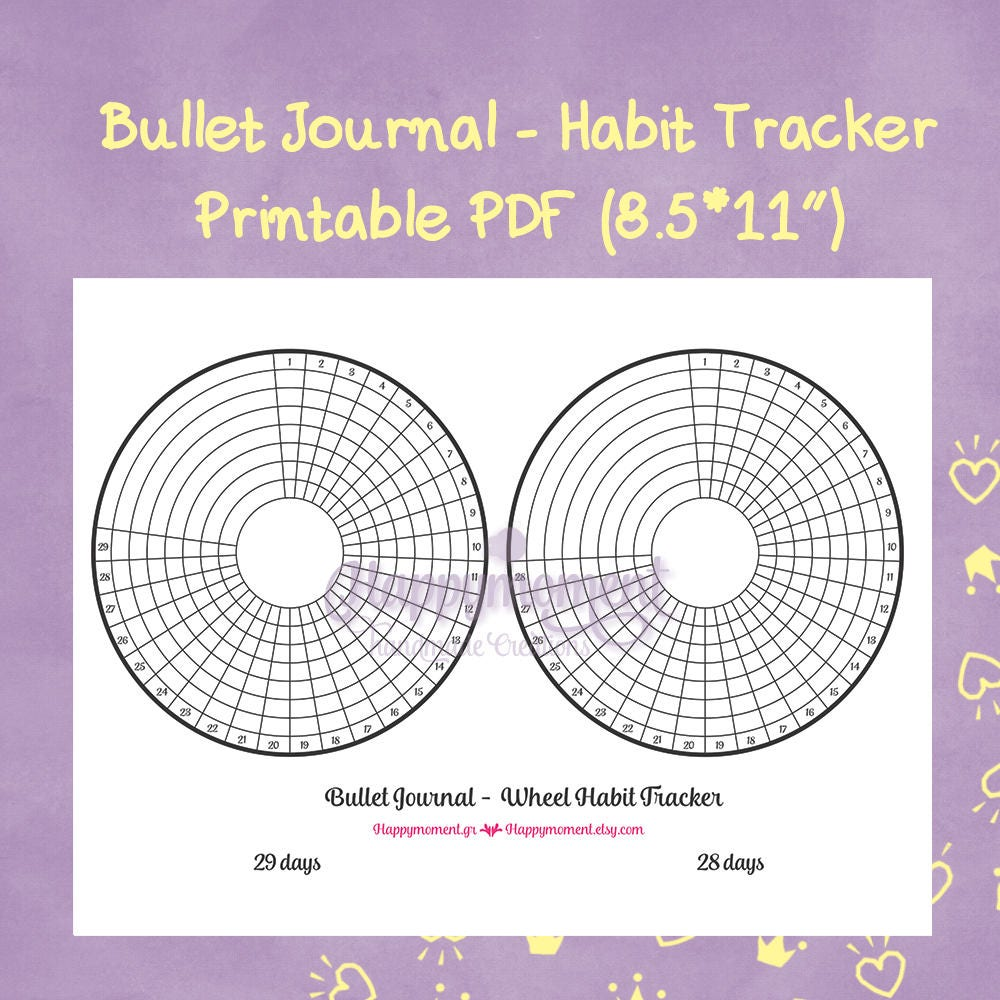 bullet journal wheel habit tracker printable sticker track