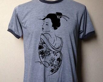 Geisha clothing unisex adult tshirt Japan geisha picture graphic ringer tee