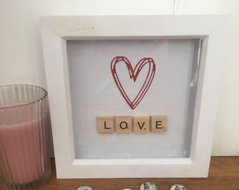 Love Scrabble Tile Box Frame, Valentines Day Gift, Wedding Gift